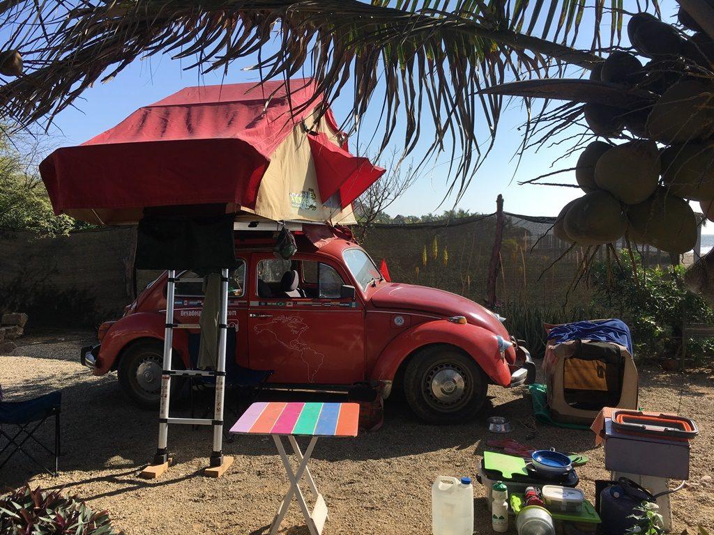 VW Käfer mit Dachzelt und Hund auf der Rückbank (Peru)
